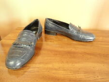 Women's Size 6N Etienne Aigner Navy Blue Leather Slip On Shoes 6 Narrow