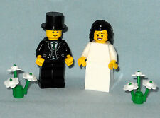 NEW LEGO WEDDING BLACK HAIR BRIDE AND GROOM WITH TOP HAT MINIFIGURES