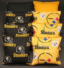 PITTSBURGH STEELERS 8 CORNHOLE BEAN BAG TOSS BAGGO NFL Quality Handmade!