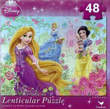 New ~ Disney Princess ~ 48 Piece Lenticular Puzzle ~ Rapunzel, Cinderella, Snow-