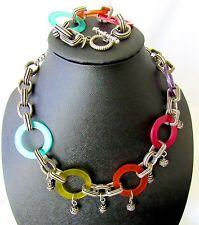Chicos Bohemian Style Set Necklace/Bracelet Dangling Silver Charms Lucite Discs