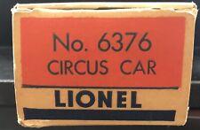 Postwar Lionel6376 Circus Car W/ Original Box.
