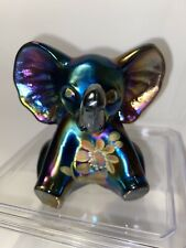 Fenton Art Glass Elephant Hand Painted Farley Carnival Iridescent Blue Purple