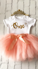 Luxury Girls 1st First Birthday Outfit Tutu Skirt Cake Smash Set Blush Tiara One