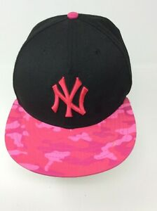New York Yankees Pink Camo Camouflage Baseball Cap Wool Fitted 7 1/8