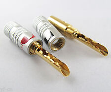 10x 4mm Nakamichi 24K Gold Plated Copper BFA  Banana Plug Male Speaker Connector