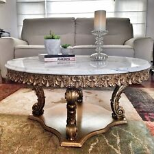 Vintage Marble Coffee Table Round Rococo Baroque Gold Tone