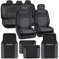 Dark Gray on Black Pu Leather Seat Covers for Car w/ Vinyl Trim Floor Mats (Fits: Scion xA)