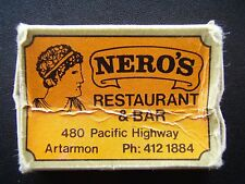 NERO'S RESTAURANT & BAR 480 PACIFIC HWY ARTARMON 4121884 MATCHBOX
