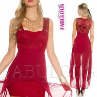 Sexy Padded High Low Lace Maxi Dress Party Evening Cocktail Size 6 8 10 XS S M