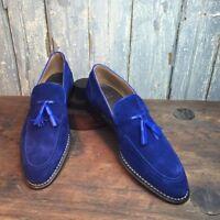 Men royal blue Tassels moccasins, Men slip ons loafer suede shoes, Men shoes