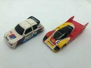 2 x TOMY HO scale slot car bodies. Peugeot 205 and Porsche 962