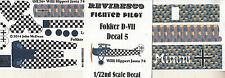 Fokker D VII - Deutsches Jagdflugzeug - WW 1 - Decal Set - Willi Hippert  1:72