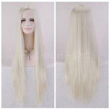 New Womens Long Straight Full Hair Wig Cosplay Anime Lolita Girls Blonde Wig+cap