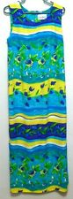 Expo Ladies Green~Blue~Yellow Rayon Maxi Dress - Size 14