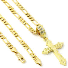 "Men's 14k Gold Plated Line Sharp Cross Pendant Hip-Hop 24"" 5mm Figaro Chain"