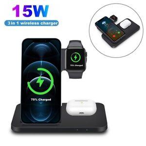3In1 15W Qi Wireless Ladegerät Induktions Ladestation Für Apple Watch iPhone 12