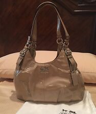 Coach Madison Patent leather Maggie Gold Hobo Bag Purse 18760