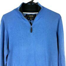 Tasso Ella Mens Sweater Small S Blue Zip Mock Neck Thin Knit Long Sleeves Cotton
