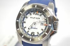 TOMMY HILFIGER 1791113 WHITE AND BLUE DIAL RUBBER MEN'S WATCH