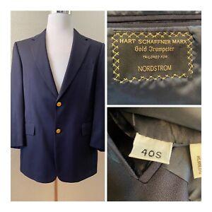 Hart Schaffner Marx Men 40S Navy Blue Blazer Jacket  Classic Gold Buttons USA