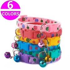 6PCS/Lot Cute Dog Collars Pet Cat Nylon Collar W/Bell Necklace Buckle Wholesale