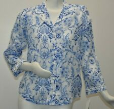 New Oscar de la Renta Sleep Shirt Button Down Blue White Pima Cotton S