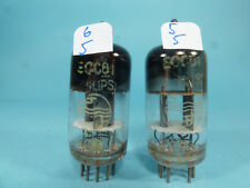 two old & vintage first production ECC81 12AT7 Philips D getter, tested low