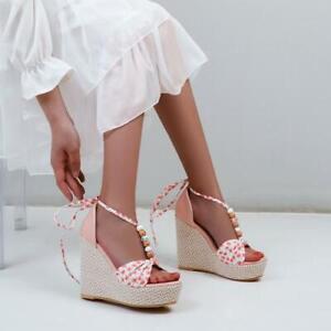 Womens Floral Beaded Bowtie Bohemian  Platform Wedge Heel Beach Sandal Shoes SKG