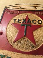 Texaco Sign Solid Metal Cast Iron Oil Gas Advertisement Patina Retro nm