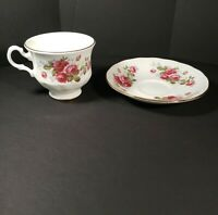 Vintage Queen Anne Bone China England Tea Cup And Saucer Roses
