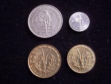 AFRIQUE de L'OUEST Lot de 4 Pièces de monnaie / 1F 5F 10F 100F(1967 Essai RARE)