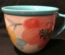 Pioneer Woman Floral White Turquoise Coffee Cup Mug Size 16 oz