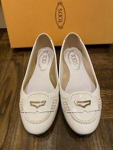TOD'S Ballerina Dee Masch Profilo Metallo - White Patent Leather Flats Size 35.5