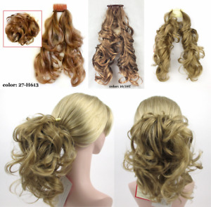 WAVY HAIR FOXTAIL HAIRPIECE W/ BENDABLE WIRES EXTENSIONS HAIRDO PONYTAIL BUN