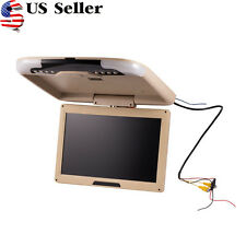 US 1X 13'' Wide LCD TFT Car Ceiling Flip Down Monitor Auto Roof Mount TV Beige