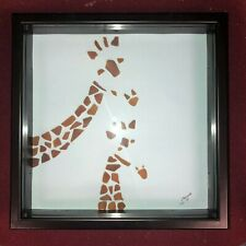 "TWO GIRAFFE sea glass art 13"" x 13"" MEMORY BOX framed SELLER ORIGINAL giraffes"