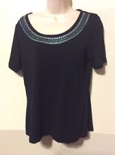 Jaclyn Smith Petite Size Medium Top Black Studed Multi Colored Beading