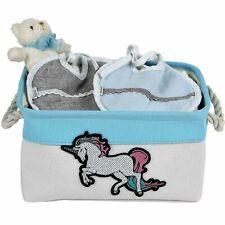 Storage Basket Canvas Bin for Nursery, Decorative Unicorn Storage Box