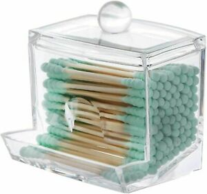Cotton Swab Ball Pad Holder with Bamboo Lids for Makeup Organizer Bathroom Containers Eabwlke Qtip Holder
