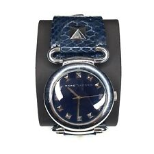 Marc Jacobs Womens Watch Silver Blue Wide Reptile Strap New Battery MBM1078