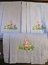 LOT OF 3 SKY BLUE COTTON EMBROIDERED AND EMBOSSED TEA TOWELS