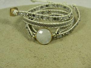 Nakamol White Leather Labradorite Chain Bead Wrap Bracelet