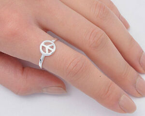 Peace Sign Ring Solid Sterling Silver 925 Plain Jewelry Face Height 10mm Size 8