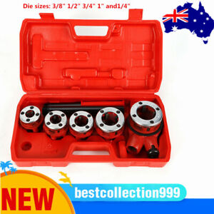 """Pipe Threader Ratchet Handle Pluming Steel Dies 3/8"""" 1/2"""" 3/4"""" 1"""" and1/4"""""""