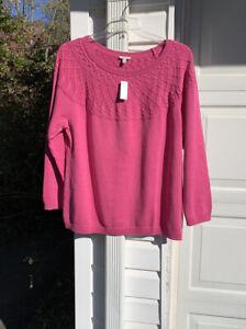 NWT Talbots Love The Woven Neck! Pretty Raspberry Pink Sweater 2X 18W 20W
