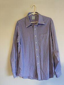 Brooks Brothers Milano Button Down Dress Shirt Men's 17 - 36 Purple Plaid