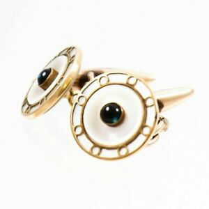 GOLD CUFFLINKS ART DECO MOTHER OF PEARL SAPPHIRES