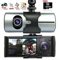 HD Car DVR Dual Camera Lens DashCam GPS Tracker G-Sensor Free 32GB microSD BONUS