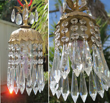 1of5 Swag Lamp hanging Spelter forest Lily bell crystal mini chandelier Vintage